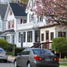 Street view of houses in Boston